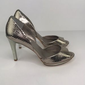 BCBGMaxAzria Osario Metallic Leather Heels 9.5